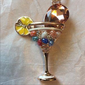 Betsey Johnson jeweled martini cocktail necklace